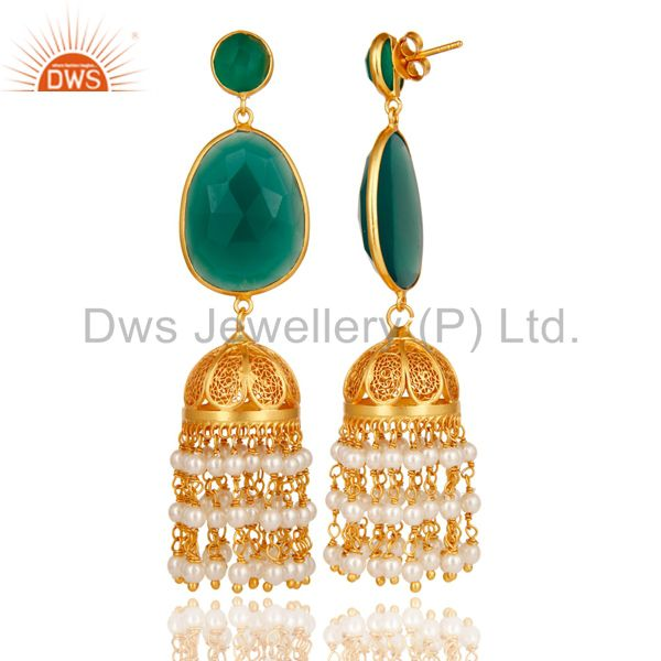 Exporter Pearl Bead & Onyx Traditional Jhumka Earring 18K Gold Plated 925 Sterling Silver