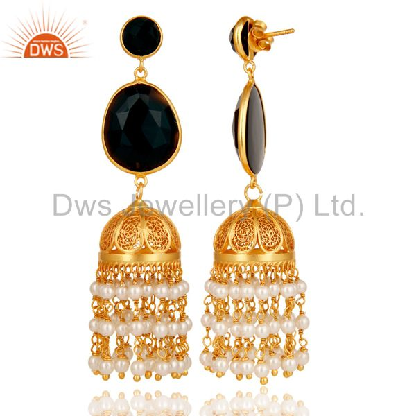 Exporter Traditional Jhumka Earring 18K Gold Plated 925 Sterling Silver with Onyx & Beads