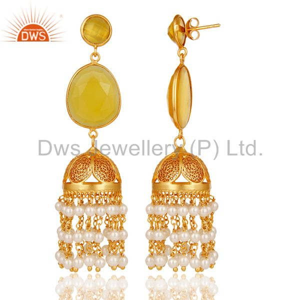 Exporter 18k Yellow Gold Plated Sterling Silver Chalcedony & Pearl Jhumka Earrings