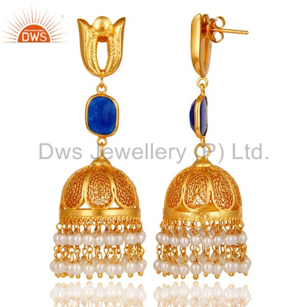 Exporter 18K Gold Plated Jhumka Earrings with 925 Sterling Silver & Aventurine