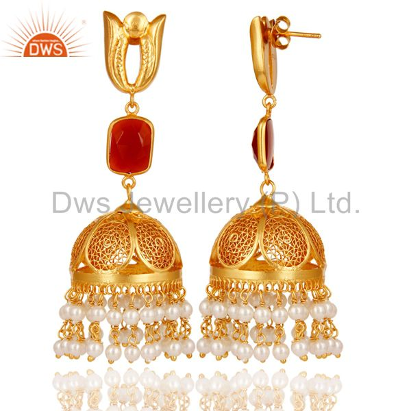 Exporter Onyx & Pearl 18K Gold Plated Jhumka Earrings 925 Sterling Silver
