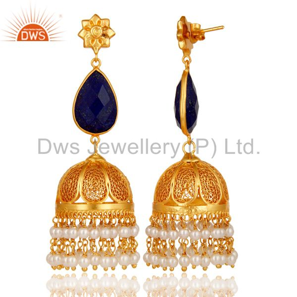 Exporter Lapis & Pearl 18K Gold Plated Jhumka Earrings 925 Sterling Silver