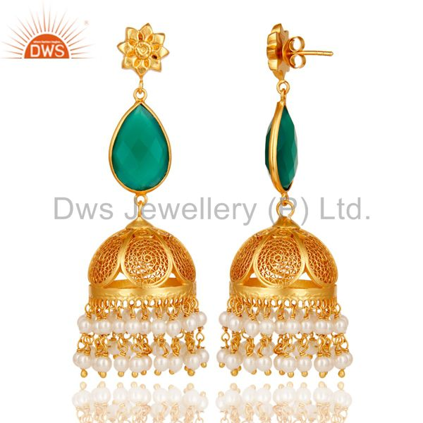 Exporter Green Onyx & Pearl Jhumka Earrings with 18k Gold Plated Sterling Silver