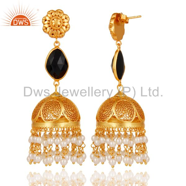 Exporter Black Onyx & Pearl Jhumka Earrings with 18k Gold Plated Sterling Silver