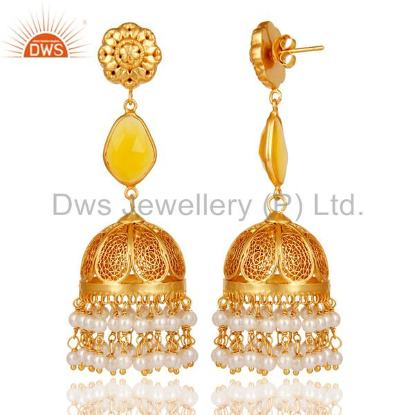 Exporter Chalcedony & Pearl Jhumka Earrings with 18k Gold Plated Sterling Silver