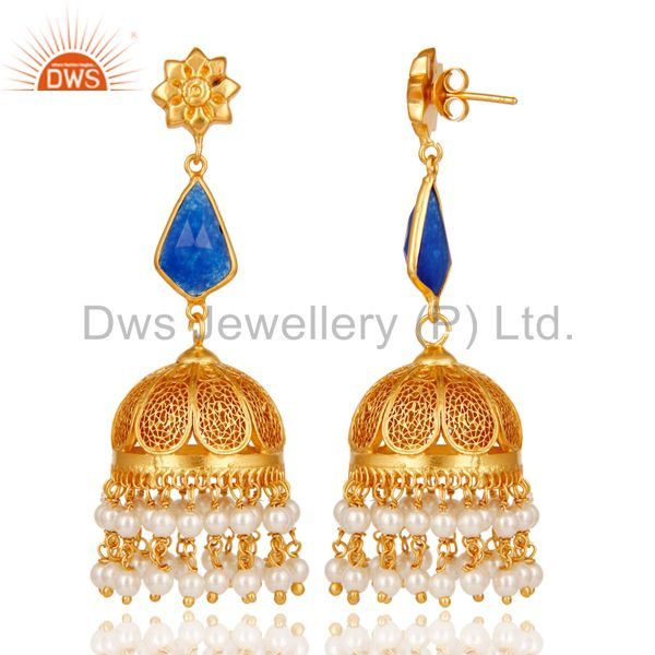 Exporter Aventurine & Pearl Jhumka Earrings with 18k Gold Plated Sterling Silver
