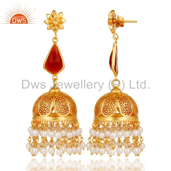 Exporter Red Onyx & Pearl Jhumka Earrings with 18k Gold Plated Sterling Silver