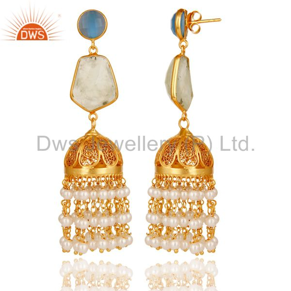 Exporter Chalcedony, Peal & Onyx Jhumka Earrings with 18k Gold Plated Sterling Silver