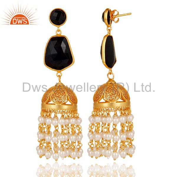 Exporter 18k Gold Plated 925 Sterling Silver Jhumka Earrings with Onyx and Pearl