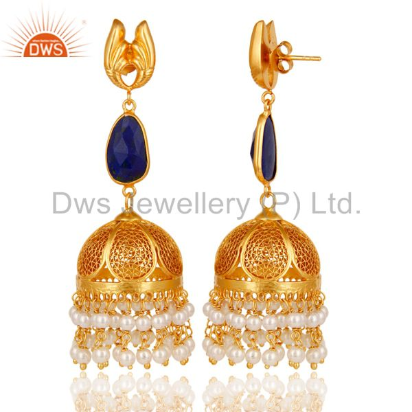 Exporter 18k Gold Plated 925 Sterling Silver Jhumka Earrings with Lapis Lazuli & Pearl