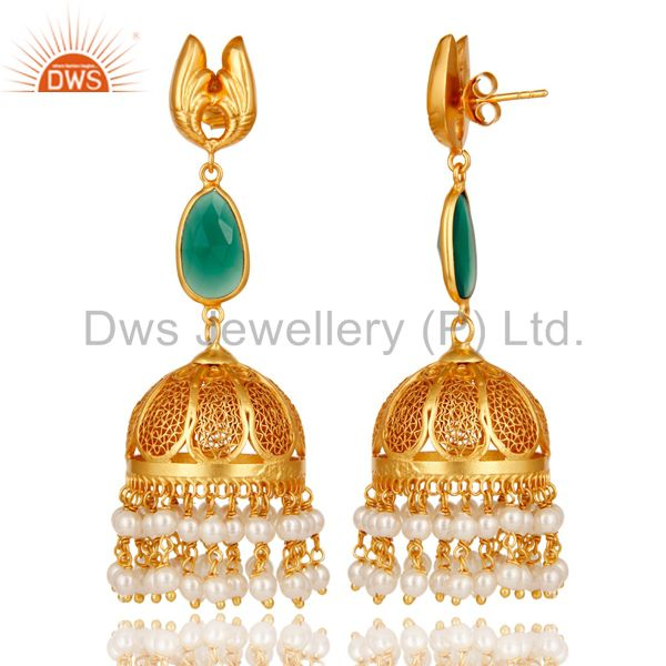 Exporter 18k Gold Plated Sterling Silver Jhumka Earrings with Onyx and Pearl