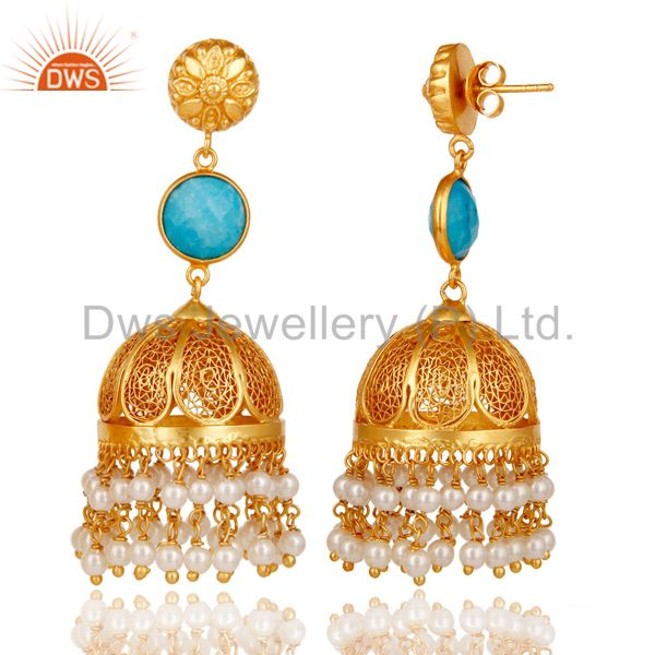 Exporter 18k Gold Plated Sterling Silver Jhumka Earrings with Turquoise & Pearl