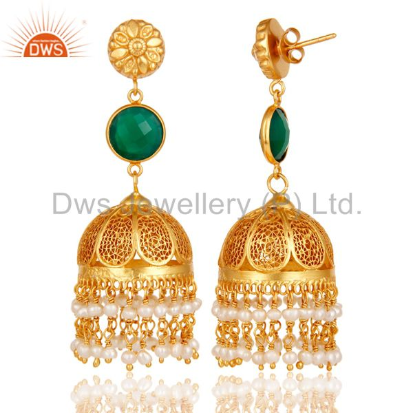 Exporter 18k Gold Plated Sterling Silver Jhumka Earrings With Green Onyx & Pearl