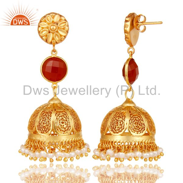 Exporter 18k Gold Plated 925 Sterling Silver Jhumka Earrings With Red Onyx & Pearl