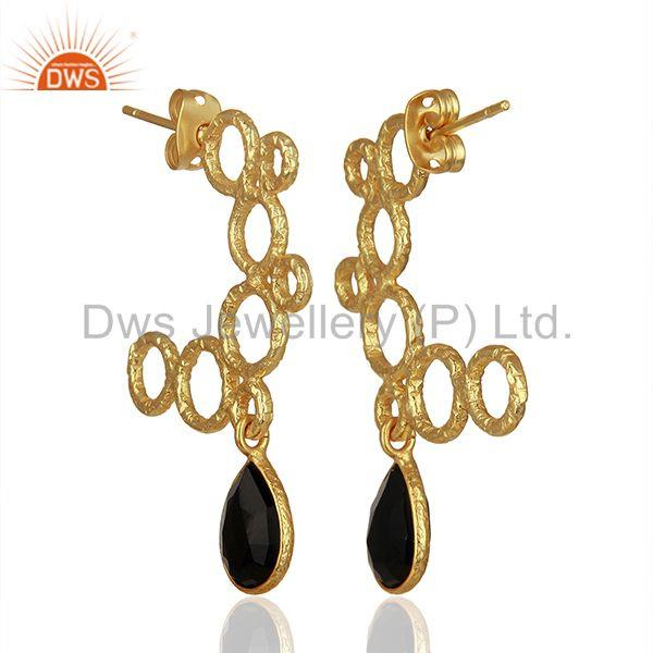 Exporter Hammered Brass Gold Plated Black Onyx Gemstone Fashion Earring Jewelry