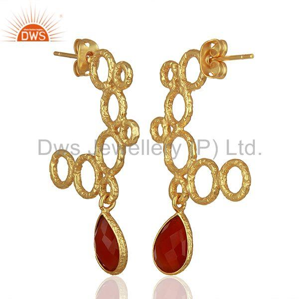 Exporter Red Onyx Gemstone Gold Plated Handmade Brass Fashion Earrings