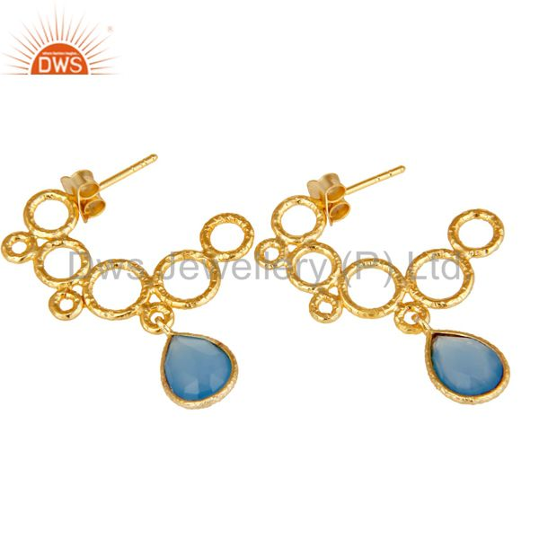 Exporter 18k Yellow Gold Plated 925 Sterling Silver Dyed Blue Chalcedony Dangle Earrings