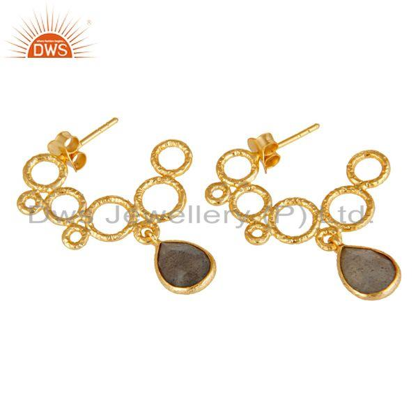 Exporter 18k Yellow Gold Plated 925 Sterling Silver Natural Labradorite Dangle Earrings