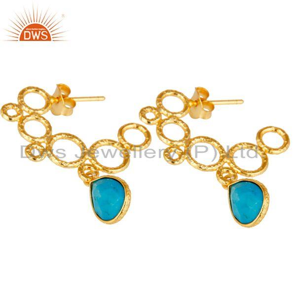 Exporter 18k Yellow Gold Plated 925 Sterling Silver Bazel Set Turquoise Dangle Earrings
