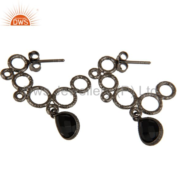 Exporter 18k Yellow Gold Plated 925 Sterling Silver Bezel Set Black Onyx Dangle Earrings