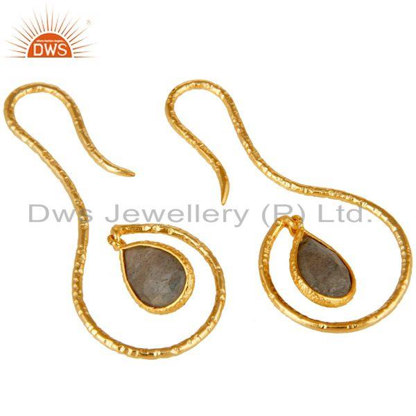 Exporter 18k Yellow Gold Plated Sterling Silver Handmade Hang In Hook Labradorite Earring