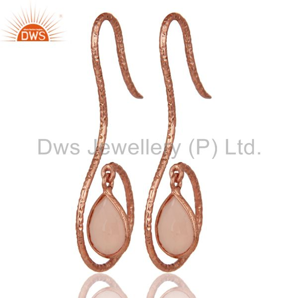 Exporter 18k Rose Gold 925 Sterling Silver Handmade Hang In Hook Dyed Chalcedony Earrings