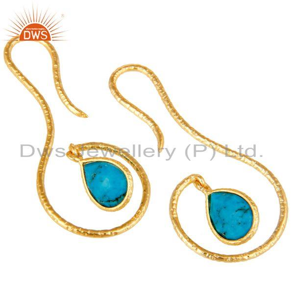 Exporter 18k Gold Plated Sterling Silver Handmade Hang In Hook Natural Turquoise Earrings
