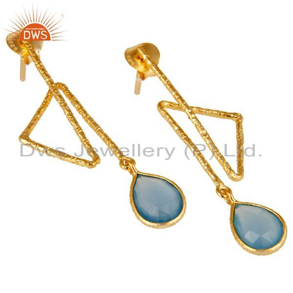 Exporter 18k Yellow Gold Plated Sterling Silver Handmade Zig Zag Style Chalcedony Earring