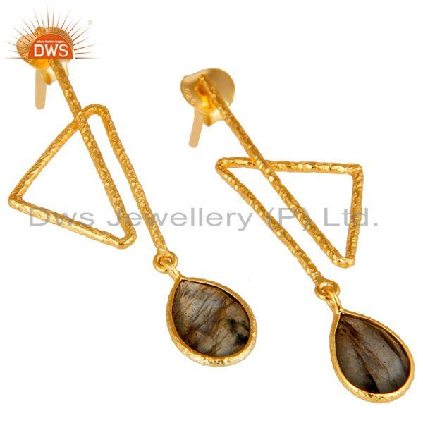 Exporter 18k Gold Plated 925 Sterling Silver Handmade Zig Zag Style Labradorite Earrings