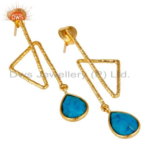 Exporter 18k Yellow Gold Plated Sterling Silver Handmade Zig Zag Style Turquoise Earring