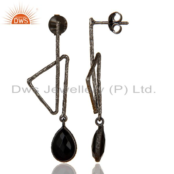 Exporter Black Oxidized 925 Sterling Silver Handmade Zig Zag Style Black Onyx Earrings