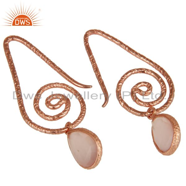 Exporter Hang In Hook Style Chalcedony Earrings With 18k Rose Gold Plated 925 Silver