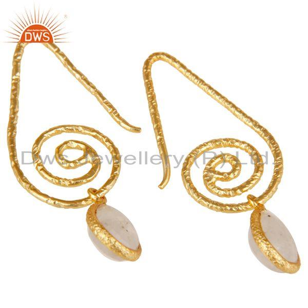 Exporter Hang In Hook Style Moonstone Drops Earrings with 18k Gold Plated Sterling Silver
