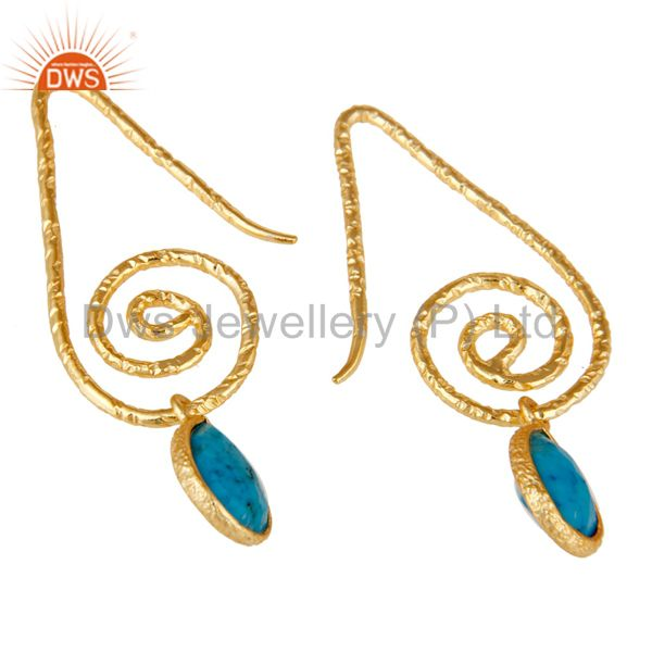 Exporter Hang In Hook Style Turquoise Drops Earrings with 18k Gold Plated Sterling Silver