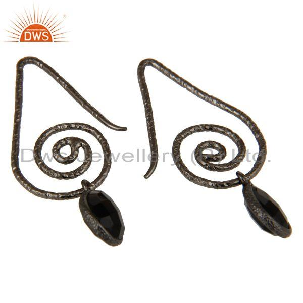 Exporter Hang In Hook Style Black Onyx Drops Earrings with Black oxidized Sterling Silver