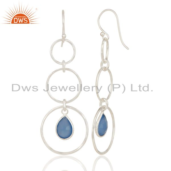 Exporter Indian Handmade Solid 925 Sterling Silver Dyed Chalcedony Bezel Set Earrings