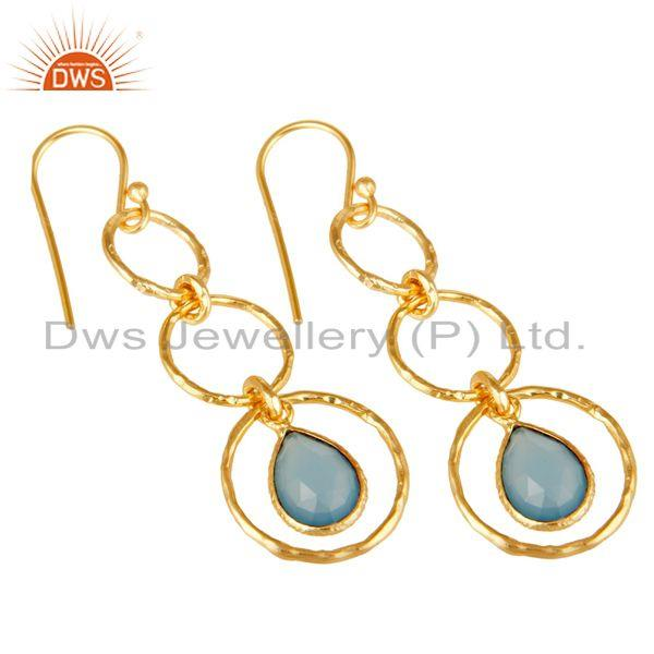 Exporter 18k Gold Plated Sterling Silver Triple Round Cut Dangle Dyed Chalcedony Earring