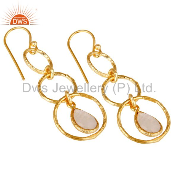 Exporter 18k Yellow Gold Plated Sterling Silver Triple Round Cut Dangle Moonstone Earring