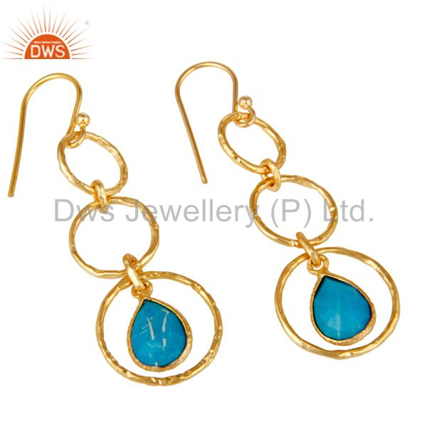 Exporter 18k Gold Plated Sterling Silver Triple Round Cut Dangle Matrix Turquoise Earring