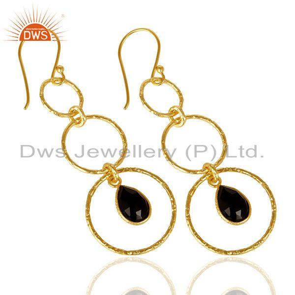 Exporter Black Onyx Hammered Circle Dangle 14K Gold Plated 92.5 Sterling Silver Earring