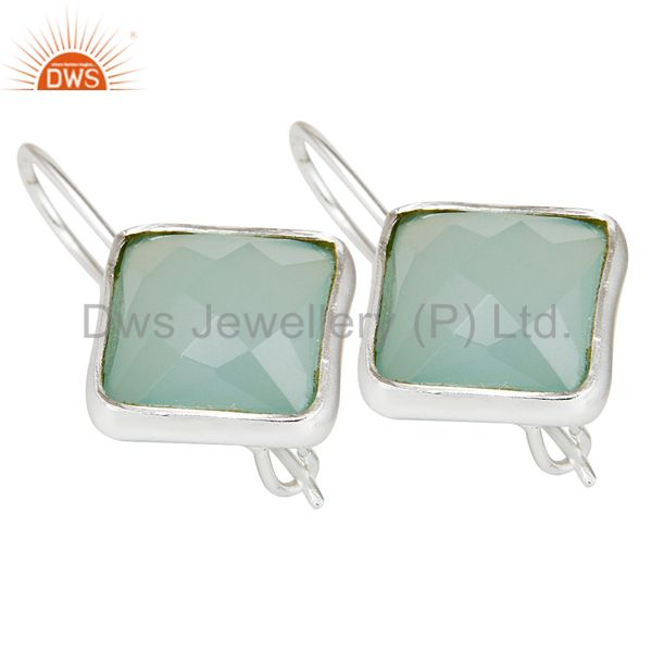 Exporter Handmade 925 Sterling Silver Dyed Blue Chalcedony Drops Earrings Jewellery