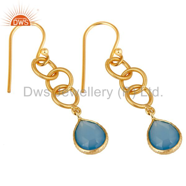 Exporter Handmade Chalcedony Bazel Set Drops Earring With 18k Gold Plated Sterling Silver