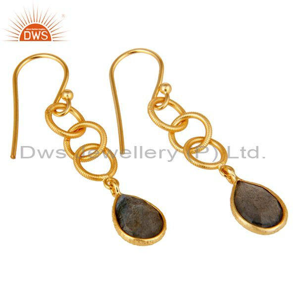 Exporter Handmade Labradorite Bazel Set Drop Earring With 18k Gold Plated Sterling Silver