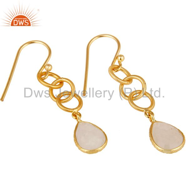 Exporter Rainbow Moonstone Bazel Set Drop Earring With 18k Gold Plated Sterling Silver