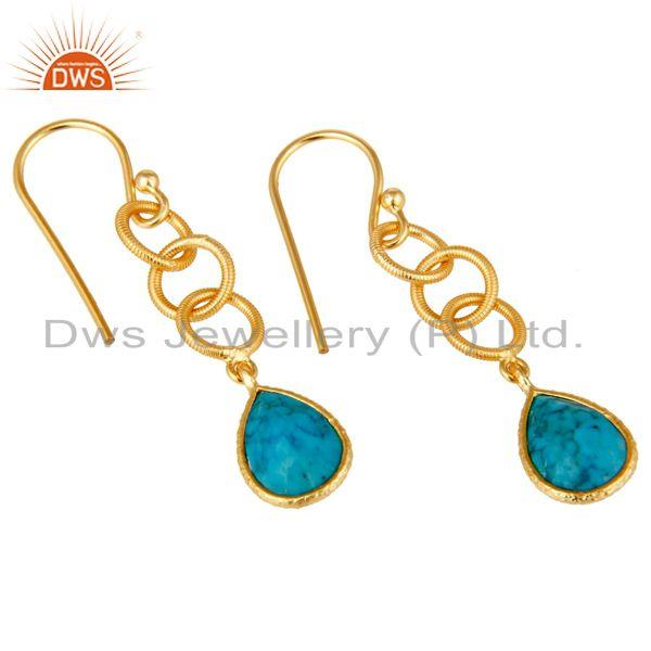 Exporter Natural Turquoise Bazel Set Drops Earrings With 18k Gold Plated Sterling Silver