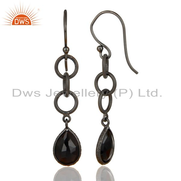 Exporter Black Oxidized 925 Sterling Silver Black Onyx Gemstone Dangle Earrings