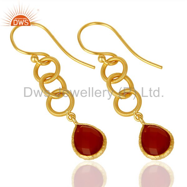 Exporter Red Onyx Twisted Wire Circle 14K Gold Plated 92.5 Sterling Silver Earring