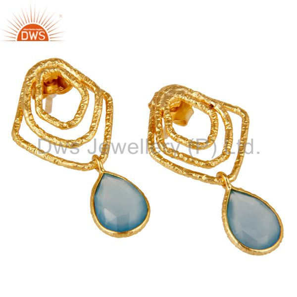 Exporter Dyed Blue Chalcedony New Fashion Earrings With 18k Gold Plated Sterling Silver