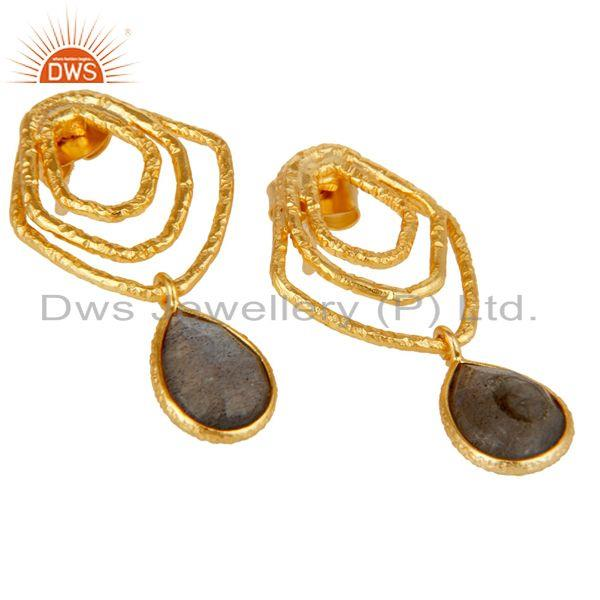 Exporter Labradorite New Fashion Drops Earrings With 18k Gold Plated 925 Sterling Silver