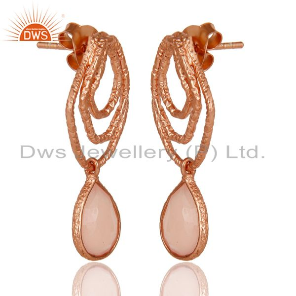 Exporter 14K Rose Gold Plated Sterling Silver Handmade Dyed Chalcedony Dangle Earrings